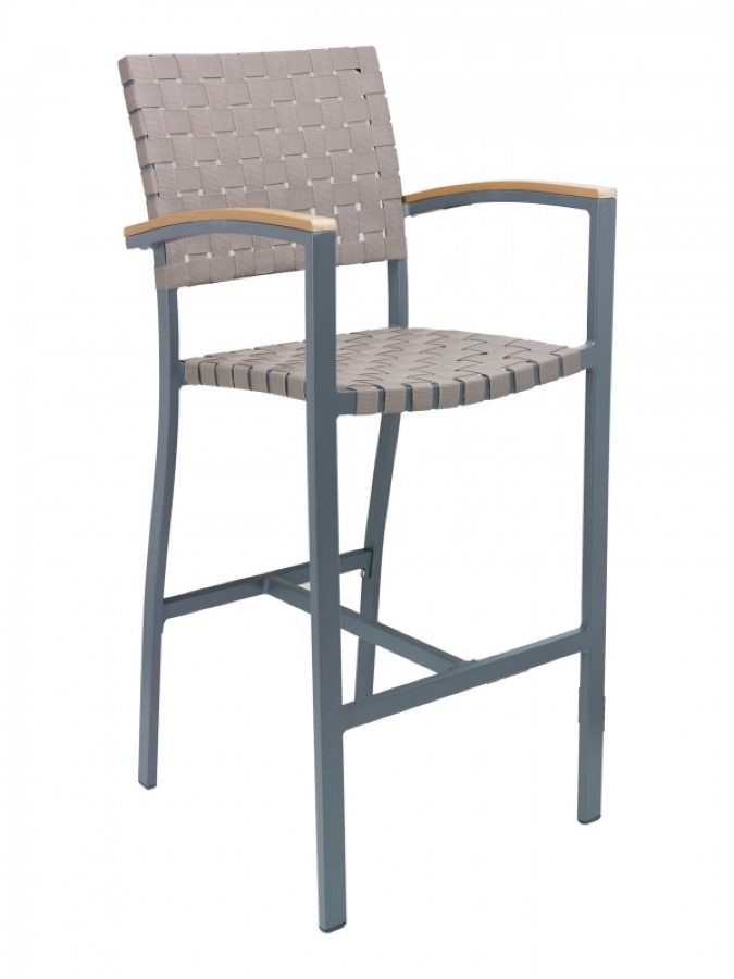 Zander Aluminum Outdoor Bar Stool With Arms Weave