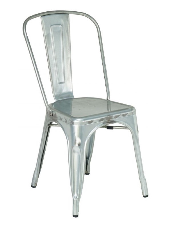 Tabouret Industrial Tolix Style Galvanized Steel Side Chair