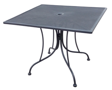 "Wrought Iron Black Mesh Table 36"" Square with Umbrella Hole."