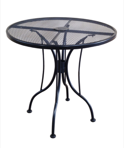 "Wrought Iron Black Mesh Table 30"" Round with Umbrella Hole."