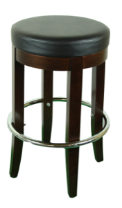 Backless Wood  Barstool with Padded Seat and Foot Ring