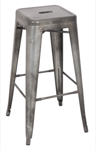Galvanized Steel Backless Barstool