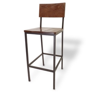 Rustic Wood Barstool with Metal Frame