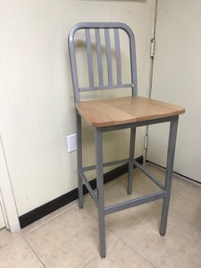 Steel Navy Style Stool with Wood Seat