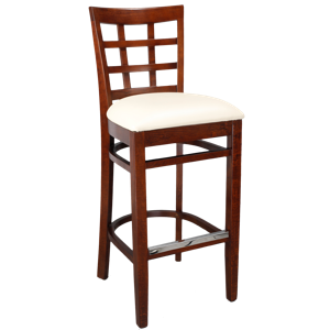 Lattice Back Wood Barstool