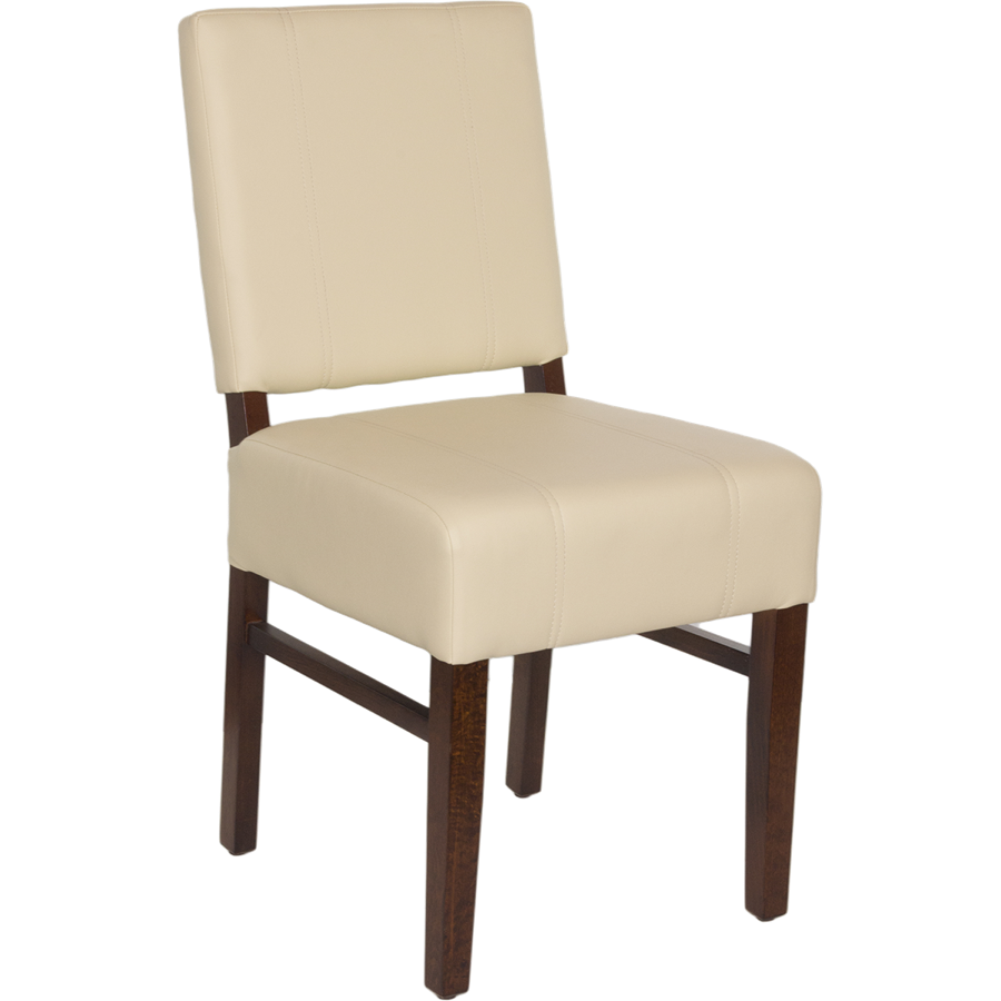 Square Wood Upholstered Pullover Back Chair Wood Seating