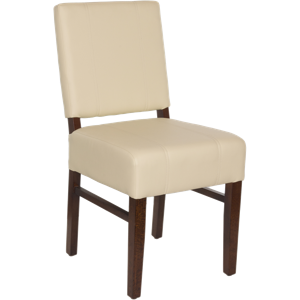 Square Wood Upholstered Pullover Back Chair