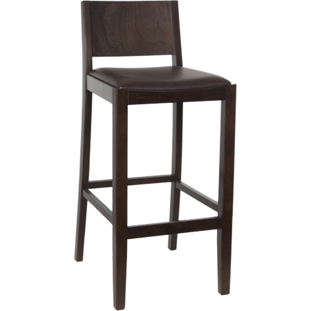 Tapered Back Wooden Barstool