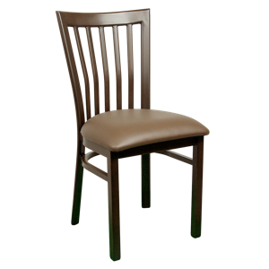 Wood-Look Metal Slat Back Chair