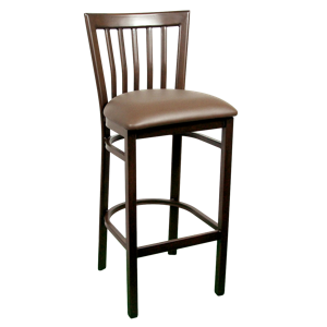Wood-Look Metal Slat Back Barstool