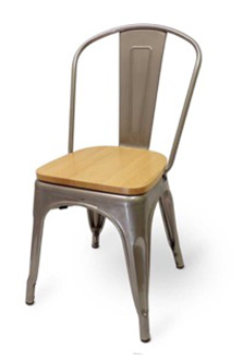 Mason Clear Coated Metal Indoor Chair with Natural Wood Seat