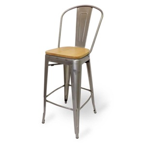 Mason Clear Coated Metal Indoor Barstool with Natural Wood Seat