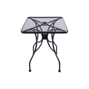 "Wrought Iron Black Mesh Table 24"" Square with Umbrella Hole."