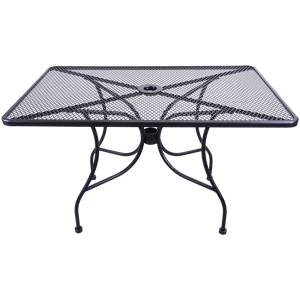 "Wrought Iron Black Mesh Table  30""x 48"" with Umbrella Hole"