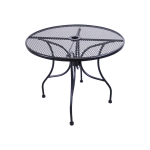 "Wrought Iron Black Mesh Table 48"" Round with Umbrella Hole"