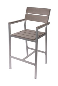 Seaside Grey Aluminum Barstool with Arms