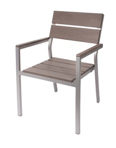 Seaside Grey Stackable Aluminum Arm Chair