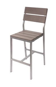 Seaside Grey Aluminum Barstool