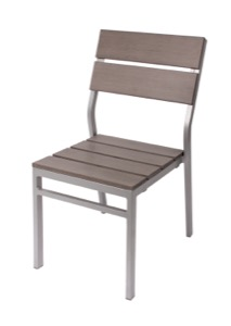 Seaside Grey Stackable Aluminum Side Chair