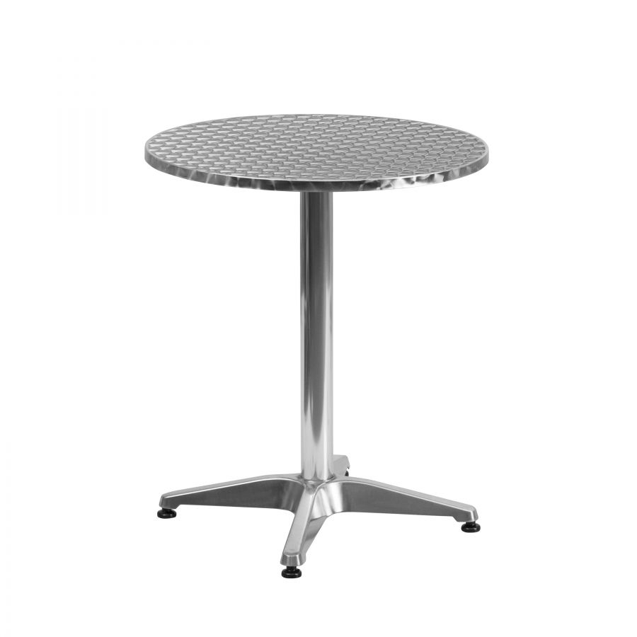 "Budget Collection 24"" Round Aluminum and Stainless Steel Restaurant Table"