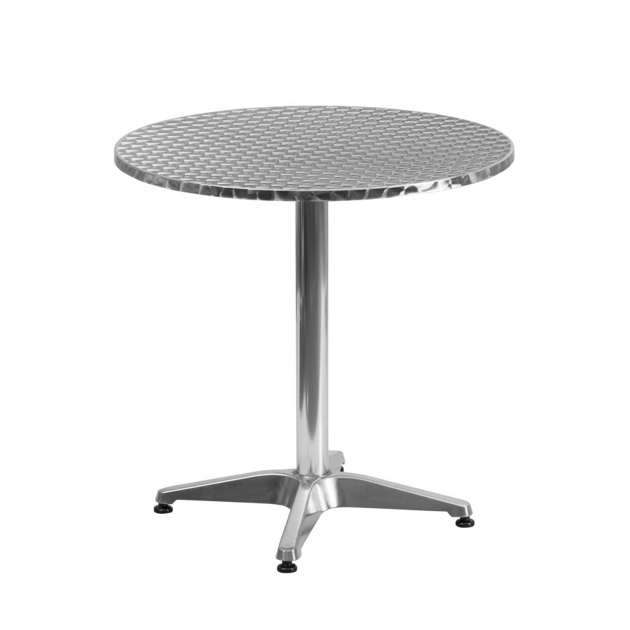 "Budget Collection 28"" Round Aluminum and Stainless Steel Restaurant Table"