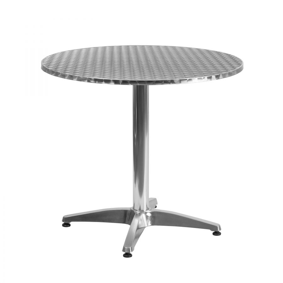 "Budget Collection 31.5"" Round Aluminum and Stainless Steel Restaurant Table"