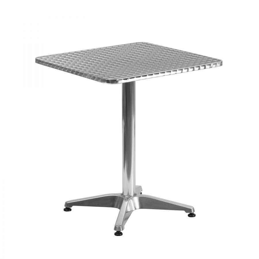 "Budget Collection 24"" Square Aluminum and Stainless Steel Restaurant Table"