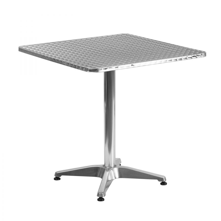 "Budget Collection 28"" Square Aluminum and Stainless Steel Restaurant Table"