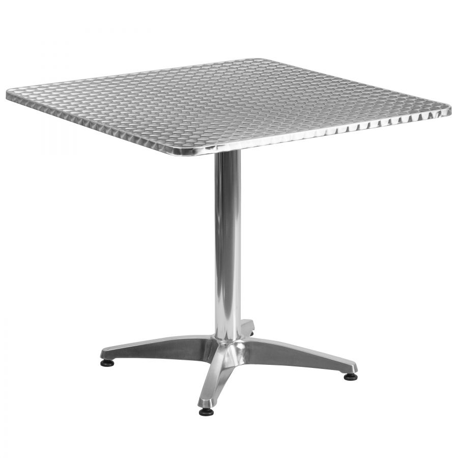 "Budget Collection 32"" Square Aluminum and Stainless Steel Restaurant Table"