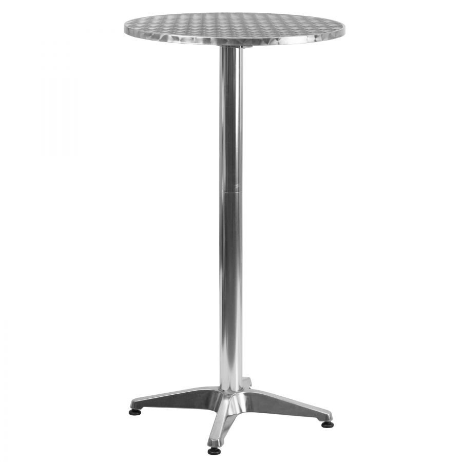 "Budget Collection 24"" Round Aluminum and Stainless Steel Bar Table with Folding Top"