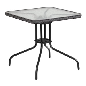 Square Patio Glass Table With Rattan Trim