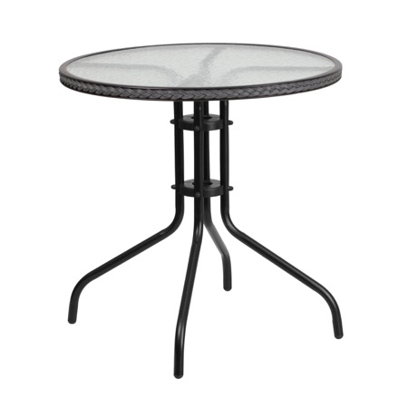 round outdoor metal table. Round Patio Glass Metal Table With Rattan Trim Outdoor