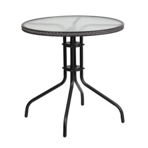 Round Patio Glass Metal Table With Rattan Trim