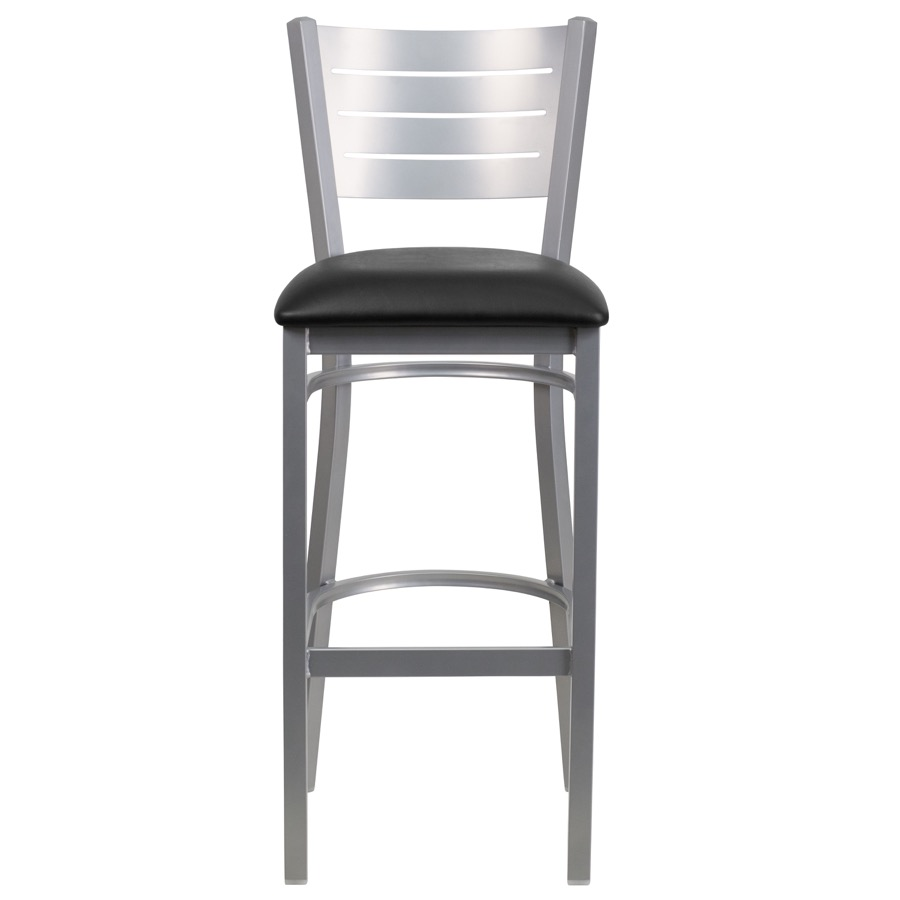 Silver Slat Back Metal Barstool With Vinyl Seat Classic