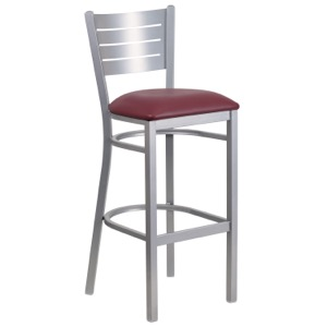 Silver Slat Back Metal Barstool with Vinyl Seat
