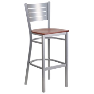 Silver Slat Back Metal Barstool with Wood Seat