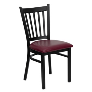 Black Vertical Back Metal Chair with Vinyl Seat