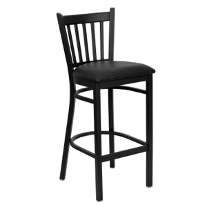 Black Vertical Back Metal Barstool with Vinyl Seat