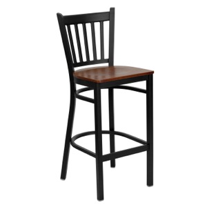 Black Vertical Back Metal Barstool with Wood Seat