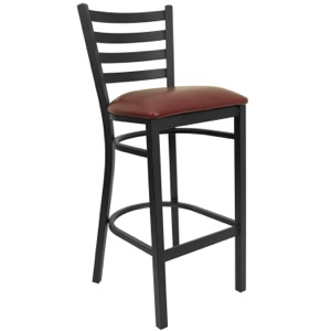 Black Ladder Back Metal Barstool with Vinyl Seat