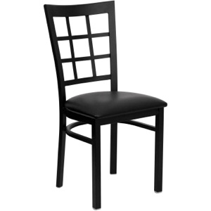 Black Window Back Metal Restaurant Chair with Vinyl Seat