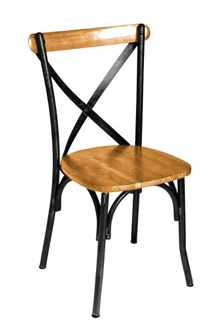 Henry Steel Crossback Chair with Natural Wood Seat