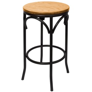 Henry Steel Backless Barstool with Natural Wood Seat