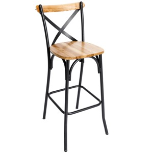Henry Steel Crossback Barstool with Natural Wood Seat