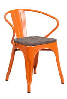 Tolix Arm Chair + Wood Seat