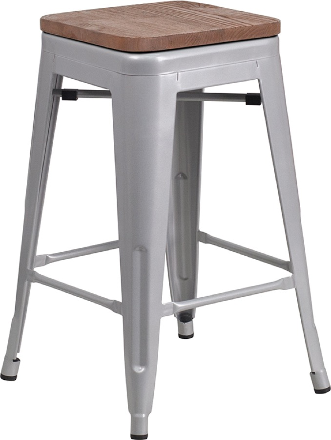 Tolix Backless Counter Stool Wood Seat Colored Tolix