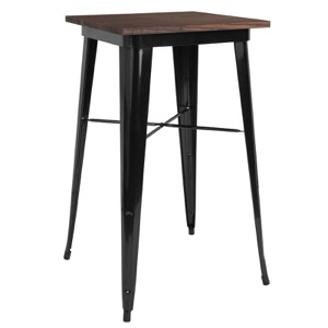 "23.5"" Square Tolix Bar Height Cafe Table+Wood Top"