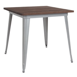 "31.5"" Square Tolix Cafe Table+Wood Top"