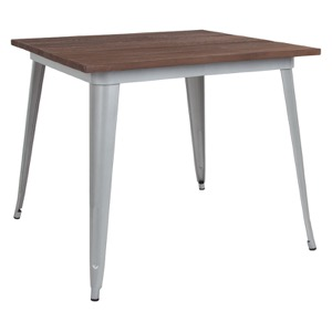 "36"" Square Tolix Cafe Table+Wood Top"