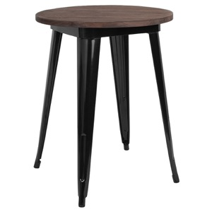 "24"" Round Tolix Cafe Table+Wood Top"